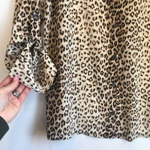 Equipment Tops - Equipment slim signature leopard print silk shirt